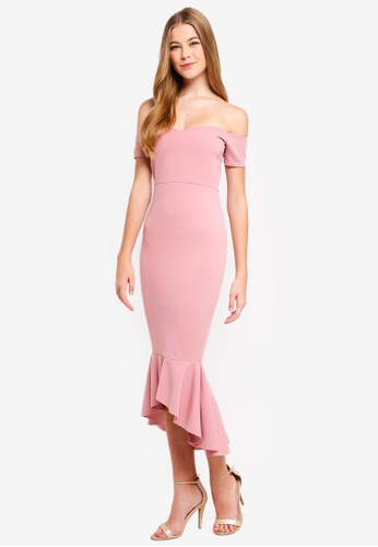 8b98b25f49df Buy MISSGUIDED Bardot Fishtail Hem Midi Dress | ZALORA HK