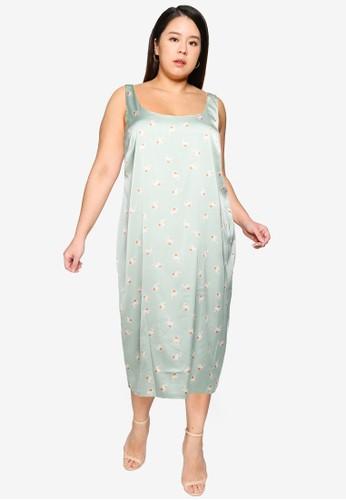 Cotton On green Curve Woven Maggie Slip Midi Dress 0F02CAAFD3E1DAGS_1