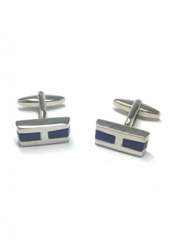 Splice Cufflinks silver Blue Half Stripes Rectangular Cufflinks SP744AC64FVBSG_1