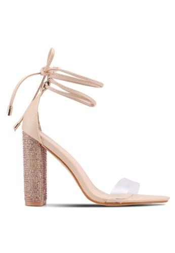Public Desire pink Fatale Diamante Block Heels 95AC5SH14D92B0GS_1