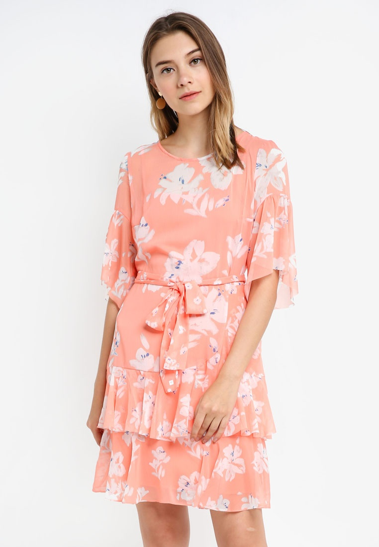 Dress Connection Peach French Blossom Wrapover Alba Sheer Sleeve Fluted B1pnq6U