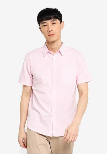 ZALORA BASICS pink Short Sleeve Button Down Oxford Shirt 0947AAAEA5D9DFGS_1