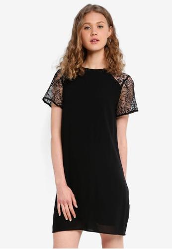 Jack Wills black Biggleswade Lace Sleeve Dress F962CAA4A27AEEGS_1
