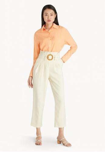 Pomelo orange Loose Drop Shoulder Shirt - Orange DE639AA3E236E8GS_1