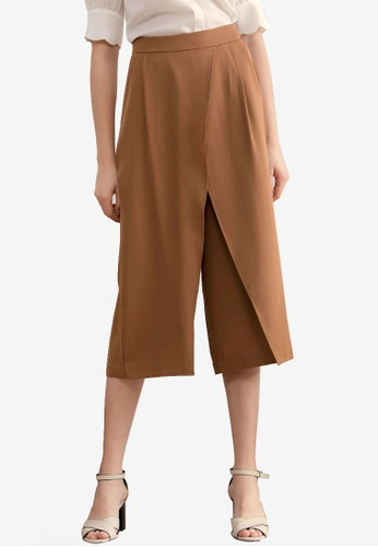Kodz brown Slit Front Culottes 7DC3AAAED8BCA9GS_1