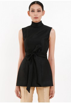 [PRE-ORDER] Structured Open Back Top with Turtle Neck and Sash Belt
