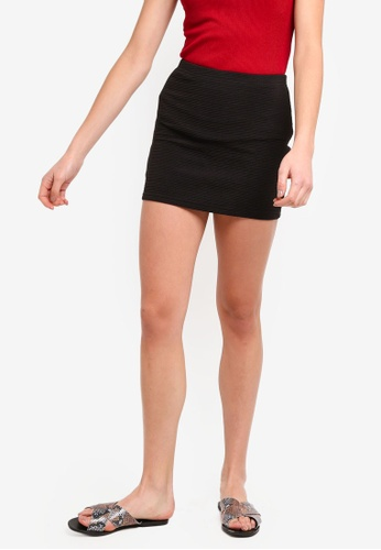 ZALORA BASICS black Basic Textured Bandage Mini Skirt FAC81AA5AB7D38GS_1