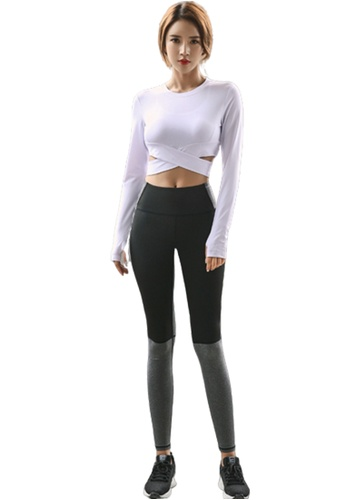 B-Code white ZYG3098-Lady Quick Drying Running Fitness Yoga Sports Bra, Top and Leggings Three Pieces Set -White 33496US1E1333CGS_1
