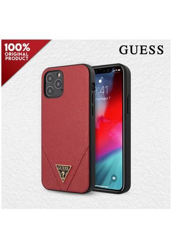 Guess red Case IPhone 12 / Casing iPhone 12 Pro Guess PU Saffiano V Stitch - Red 2BBFCESC95FA3DGS_1