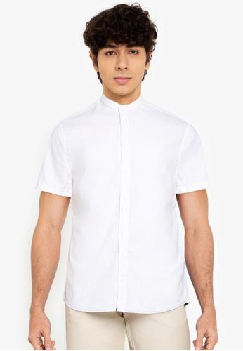 BLEND white Grandad Collar Short Sleeve Shirt E2B52AA6C4E256GS_1