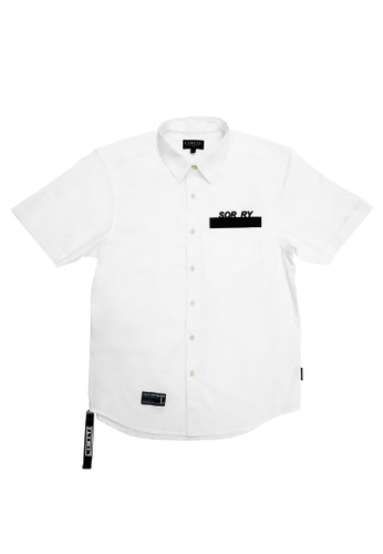 L.I.M.I.T.E white Printed & Emb. with Zipper & tape Shirt 49B99AAFED16F2GS_1