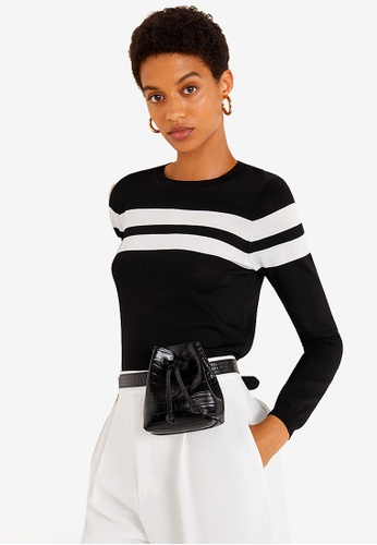 Mango black Contrasting Stripes Sweater B769EAA1A75F77GS_1