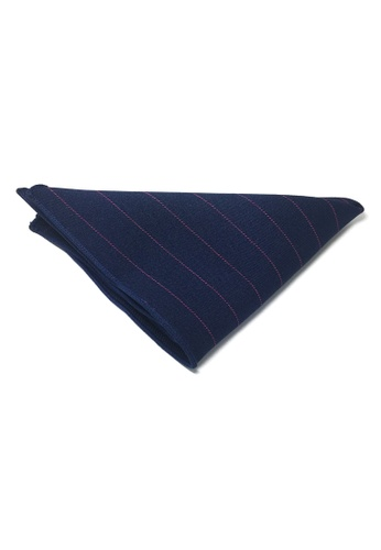Splice Cufflinks blue Bars Series Thin Purple Stripes Navy Blue Cotton Pocket Square   SP744AC78DKZSG_1