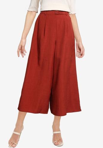 LOWRYS FARM red Belted Culotte Pants 99F72AAEE193F2GS_1