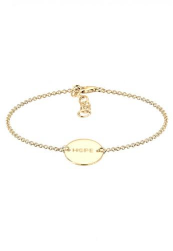 Elli Germany gold Perhiasan Wanita Perak Asli - Silver Gelang Hope Geo Gold Plated EL948AC39KNWID_1