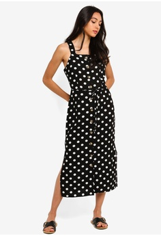 2bc862e8937 Miss Selfridge black Black Spot Print Pinafore Dress 38330AA5198B84GS 1