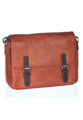 ENZODESIGN brown Urban Light Pebble Grained Leather Messenger EN357AC0FQQ4SG_1