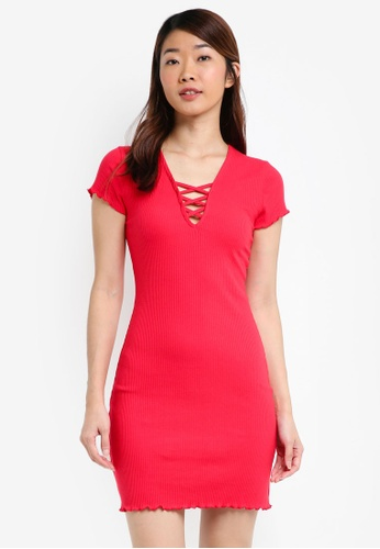 Miss Selfridge red Red Ribbed Lattice Bodycon Dress 483BEAA1C8E651GS_1