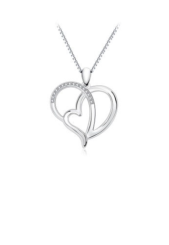 Glamorousky white 925 Sterling Silver Simple Fashion Double Heart Pendant with Cubic Zirconia and Necklace 0052CACA3A8C2CGS_1