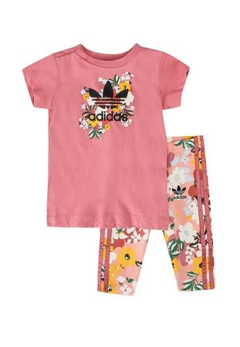 ADIDAS pink her studio london floral tee and leggings set 749C2KADA08CA7GS_1