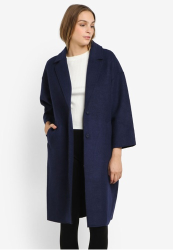 WAREHOUSE navy Long Bonded Swing Coat WA653AA0RSQGMY_1
