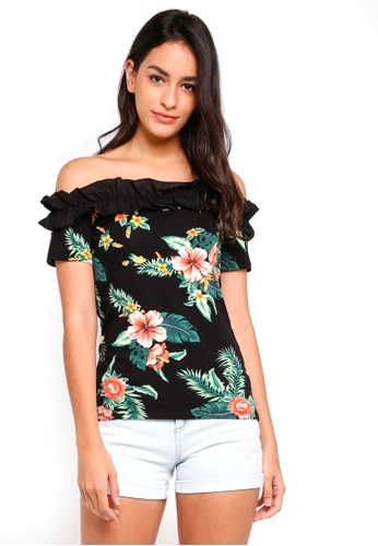 Dorothy Perkins black Black Floral Woven Trim Bardot Top 56081AA4AA7A8AGS_1