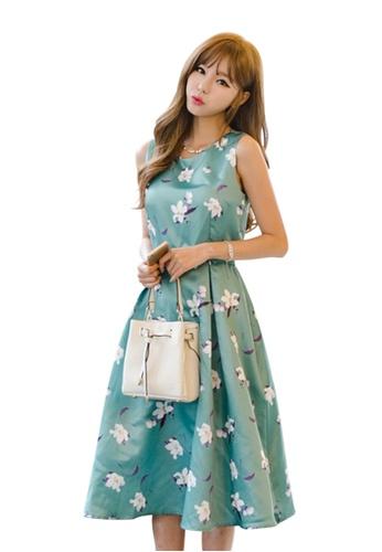 Sunnydaysweety green Flora Print Sleeveless Dress A040511GR SU219AA0HAIYSG_1