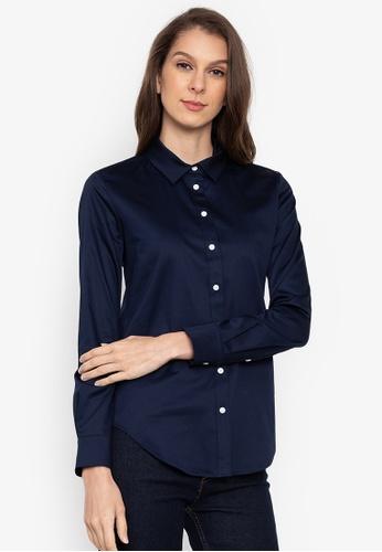 MARKS & SPENCER navy Cotton Rich Long Sleeve Shirt 3C828AA1C38576GS_1