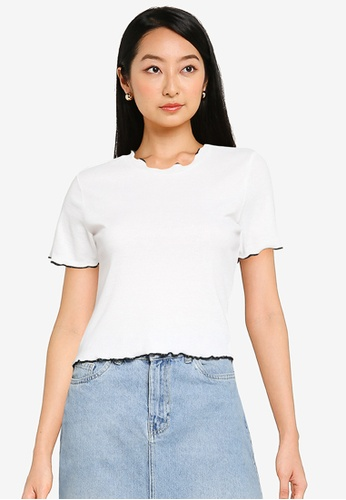 KOTON white Contrast T-Shirt 9A7BFAACC57D41GS_1