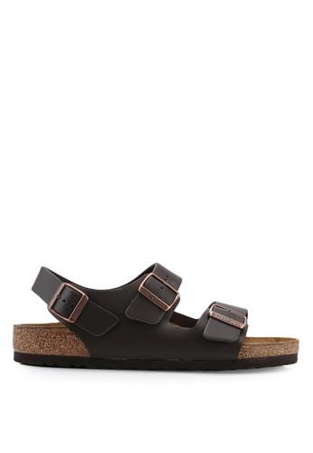Birkenstock brown Milano Smooth Leather Sandals D8E42SH97E28FAGS_1