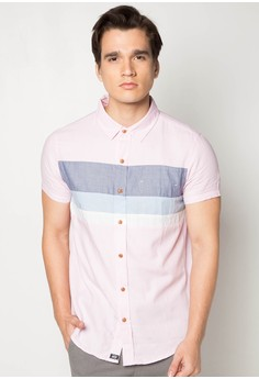 Cut and Sew Slim Fit Short Sleeve Shirt