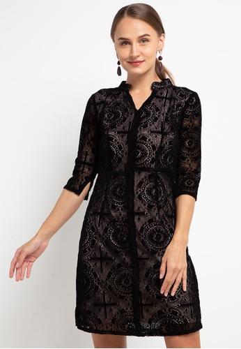 CHANIRA LA PAREZZA black Chanira La Parezza Sophie Velvet Lace Dress BF54FAA26DEFB8GS_1