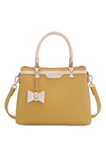 PLAYBOY BUNNY yellow Women's Hand Bag / Top Handle Bag / Shoulder Bag DF364ACCF64CDCGS_1
