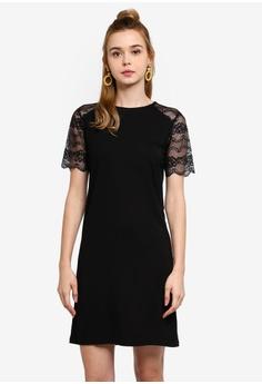 fecbde1eef8b JACQUELINE DE YONG black Marilyn Short Sleeve Lace Dress DC230AAB2B3D99GS_1