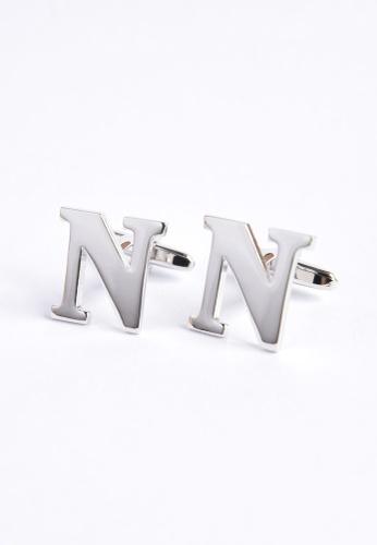 Splice Cufflinks silver Monogram Alphabet Rhodium Plated Cufflinks - N SP744AC16PRJSG_1