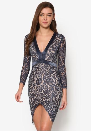 蕾絲低胸長袖洋裝、 服飾、 洋裝INDIKAH蕾絲低胸長袖洋裝最新折價