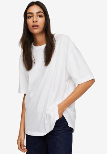 Mango white Oversize Cotton T-Shirt 00CB4AABC84512GS_1