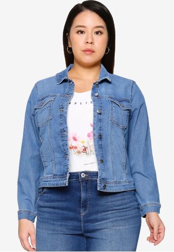 Only CARMAKOMA blue Plus Size Wespa Life Denim Jacket 73A47AAAD950E5GS_1