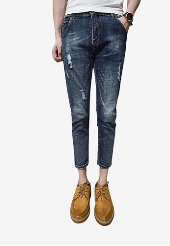 hk-ehunter blue Destroy Details Denim Jeans for Men 6C739AA3D2D9B7GS_1