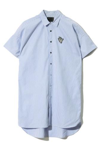 MUSIUM DIV blue Slogan embroidered appliqué pinstriped shirt B3BF4AA4C27FEFGS_1