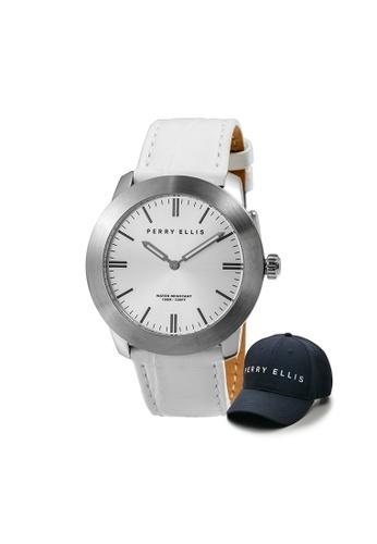 Perry Ellis white Perry Ellis Slim Line Unisex 42mm Quartz Watch 07014-01 with Perry Ellis Cap 295B6ACADA2BE3GS_1
