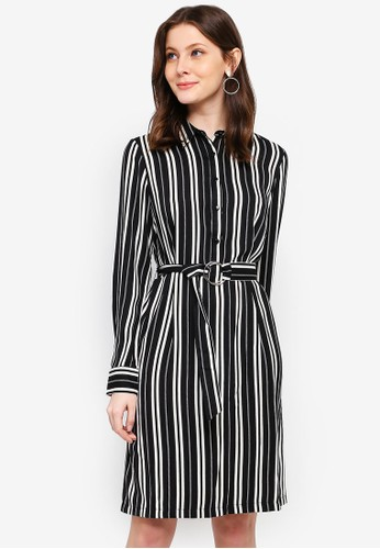 FORCAST black Chaya Stripe Button Up Dress 6F5E1AA6612E94GS_1