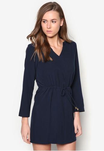褶藝束腰zalora 評價長袖連身裙, 服飾, 洋裝