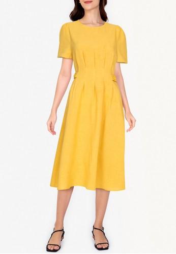 ZALORA WORK yellow Side Button Short Sleeves Dress 92471AAA1A1FFDGS_1