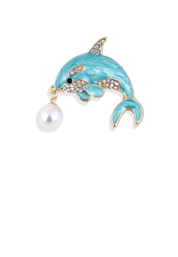 Glamorousky white Fashion and Simple Plated Gold Enamel Dolphin Imitation Pearl Brooch with Cubic Zirconia 9B7CCACEBCBA40GS_1