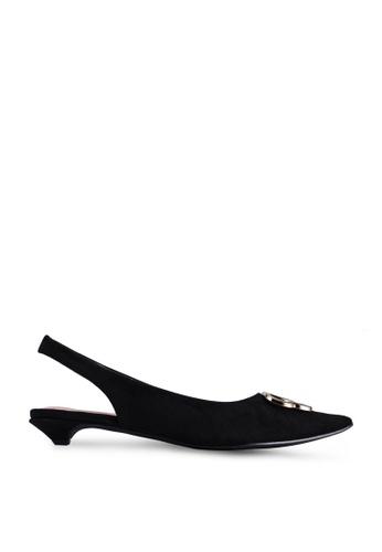 nose 黑色 Pointy Toe Kitten Heels Slingback 0BFE1SHADF69F8GS_1
