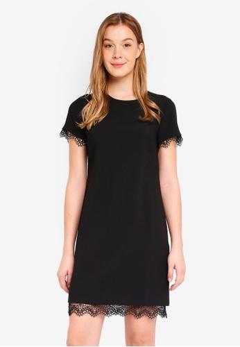 Banana Republic black Short Sleeve Lace Trim Shift Dress 9B75EAA1B023D3GS_1