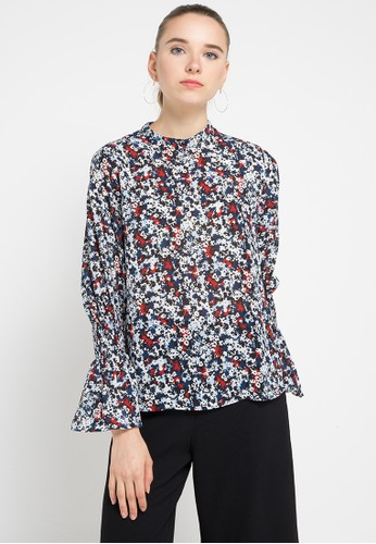 EDITION navy Elbow Flare Sleeve Blouse ED101AA0WSGCID_1