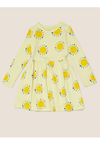 MARKS & SPENCER yellow M&S Pure Cotton Sunshine Print Dress (2-7 Yrs) C2E4FKA97223E4GS_1