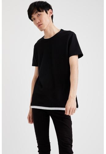 DeFacto black Short Sleeve Round Neck Basic T-Shirt 38C61AAE837628GS_1